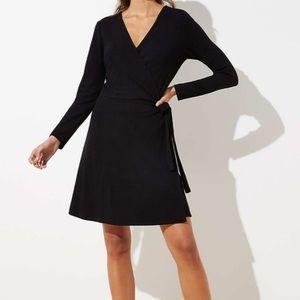 LOFT Long Sleeve Wrap Dress in Black NEW w/tags